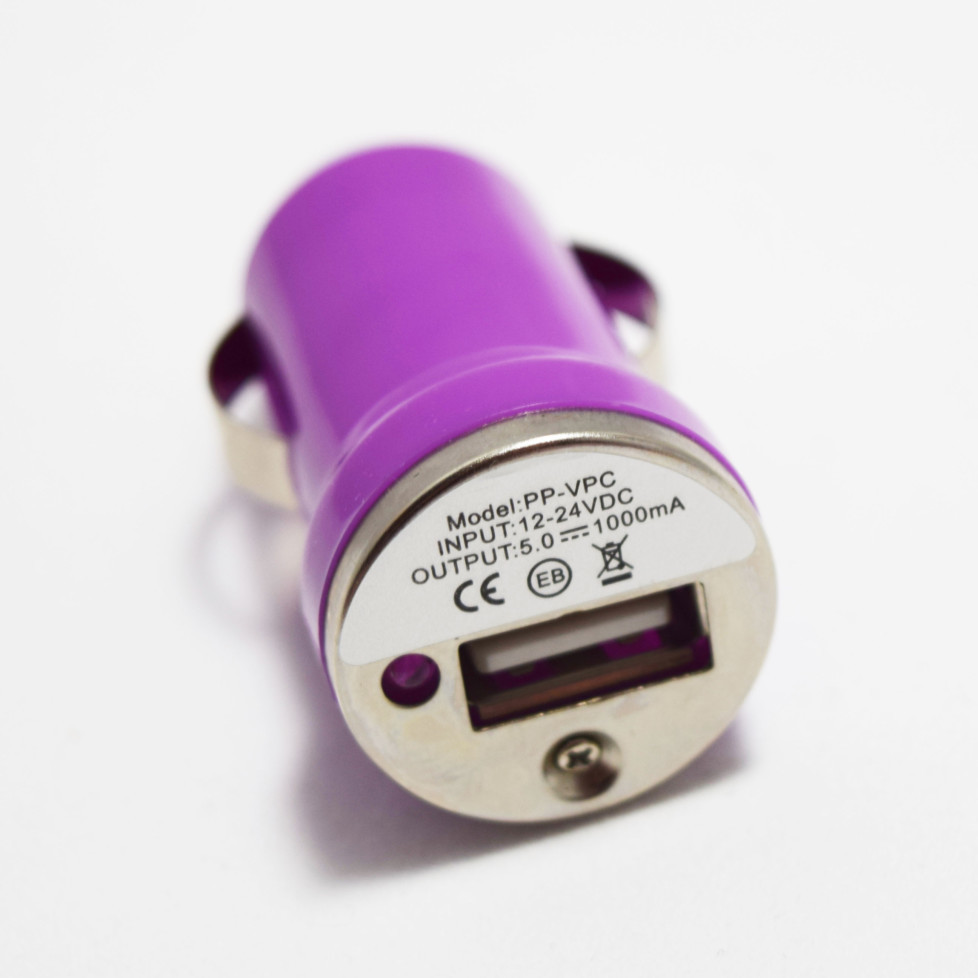 purple usb car plug