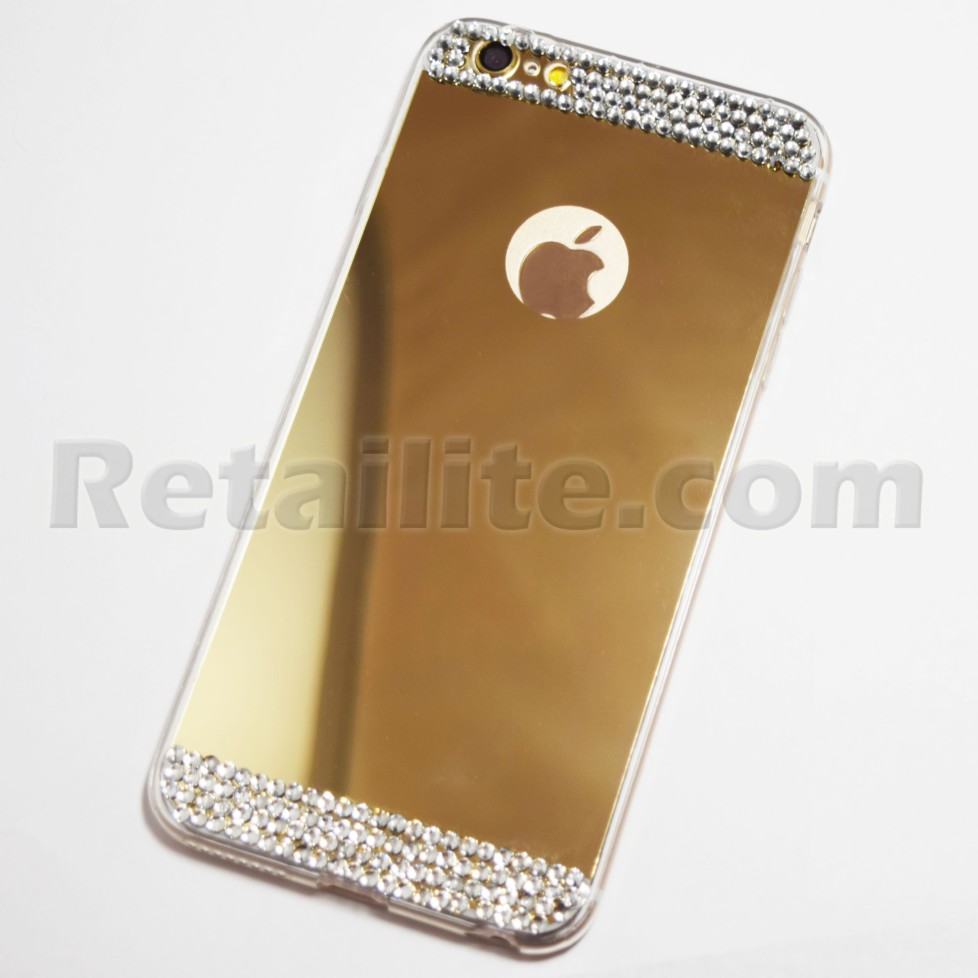 gold diamond studded mirror case iphone 6s plus