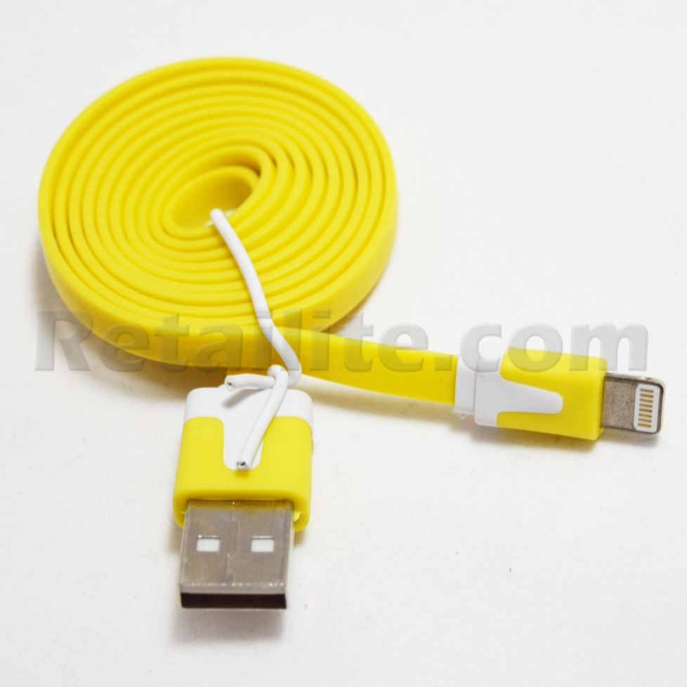 yellow lightning cable