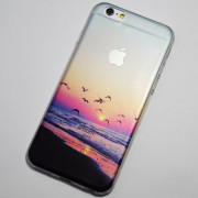 Seagulls fly on the beach at sunset iPhone 6 6S Case