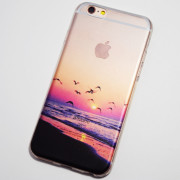 Seagulls flying on the beach at sunset iPhone 6 6S Case