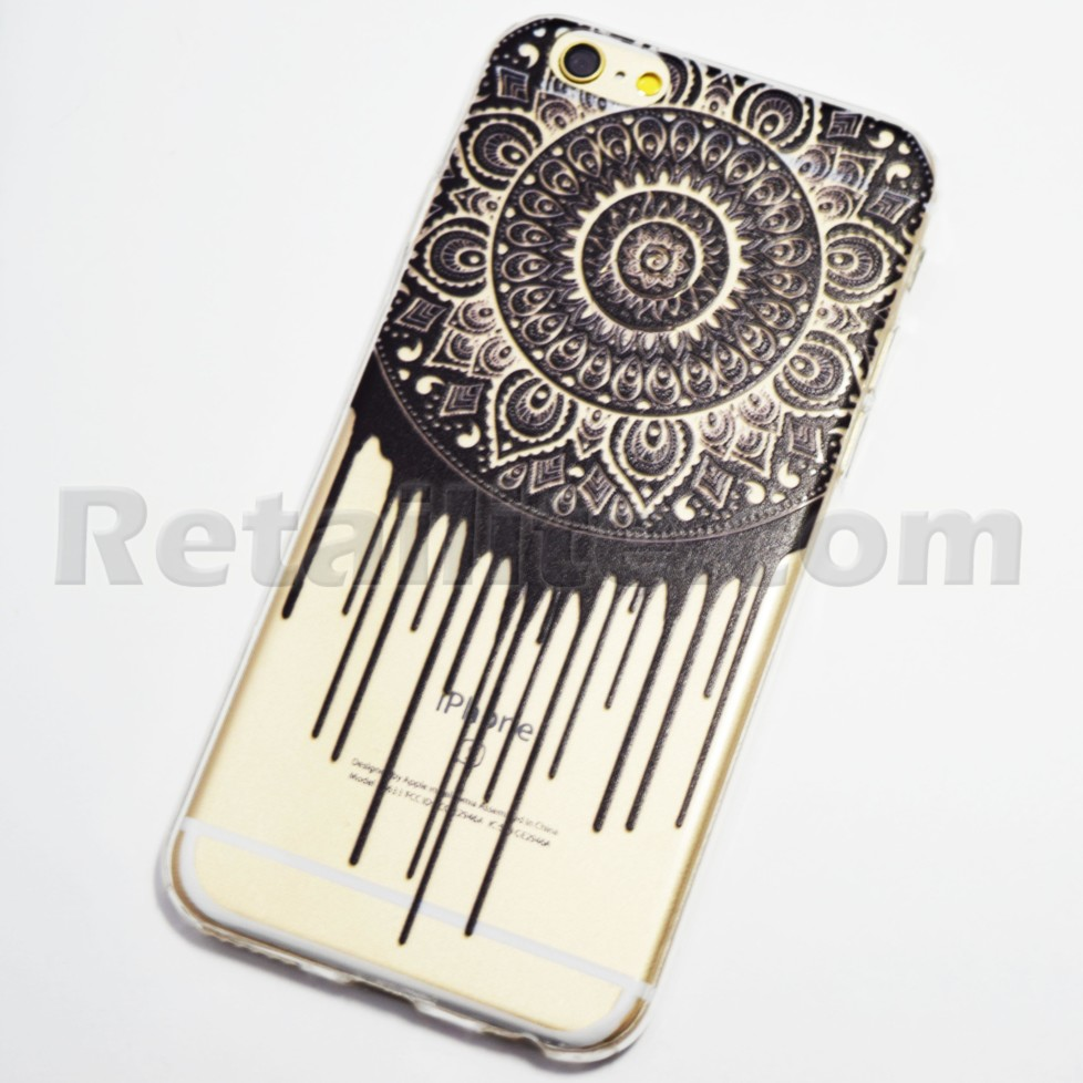 black dripping circle iphone 6 6s soft case