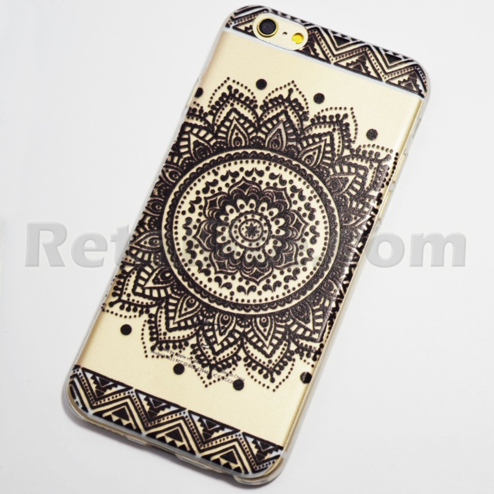 new arrival 78bf7 43918 Black Large Circular Henna Flower iPhone 6 / 6S Soft Case