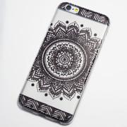 black large circular flower henna iphone 6 6s soft case