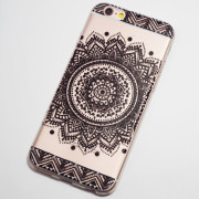 black large circular flower iphone 6s case