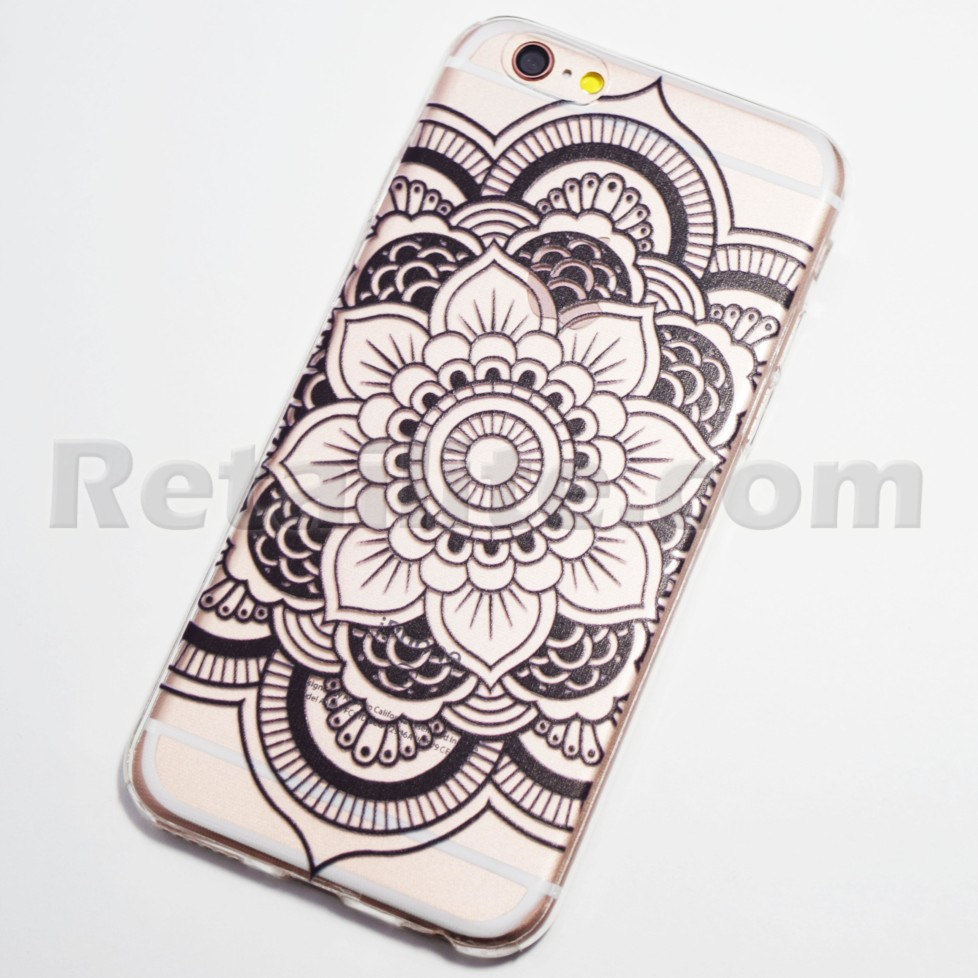 info for 40c9f 21d5e Black Large Flower Henna iPhone 6 / 6s Soft Case