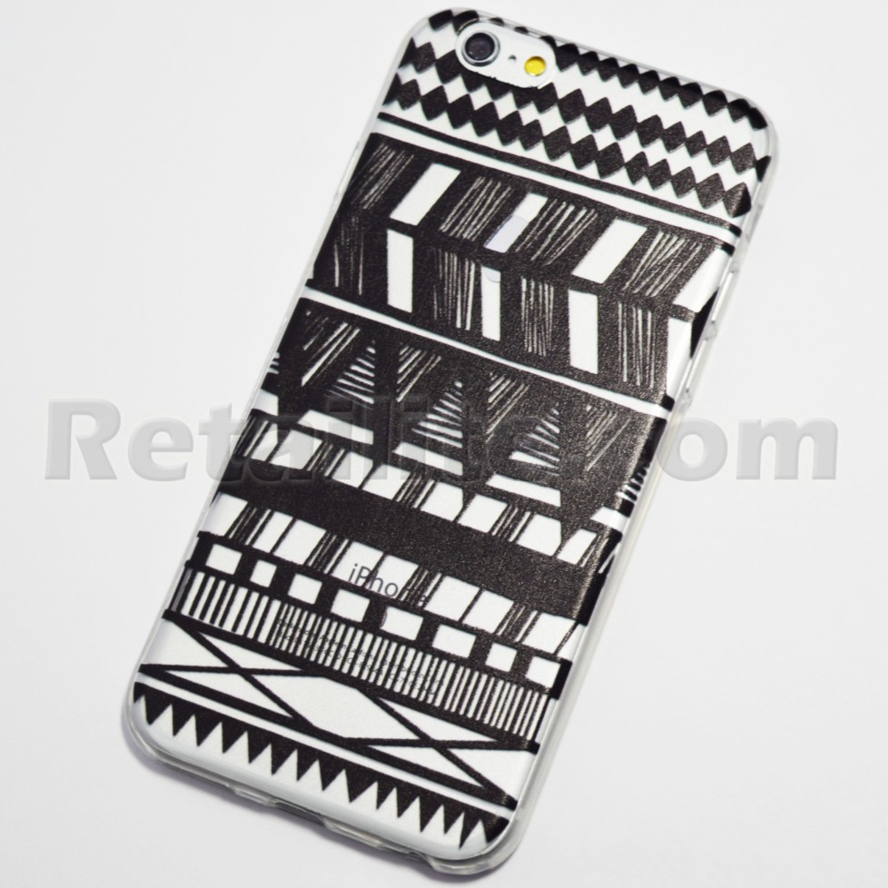 9d240ebdef9 Black Striped Tribal Henna iPhone 6   iPhone 6S Soft Case - Retailite