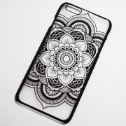 black boho chic large flower iphone 6s case