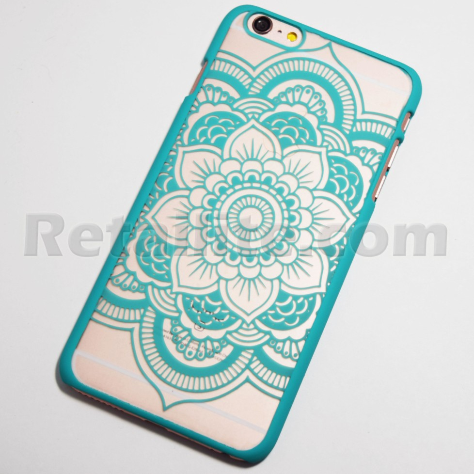 Turquoise Henna Flower Iphone 6 Plus 6s Plus Hard Case Retailite