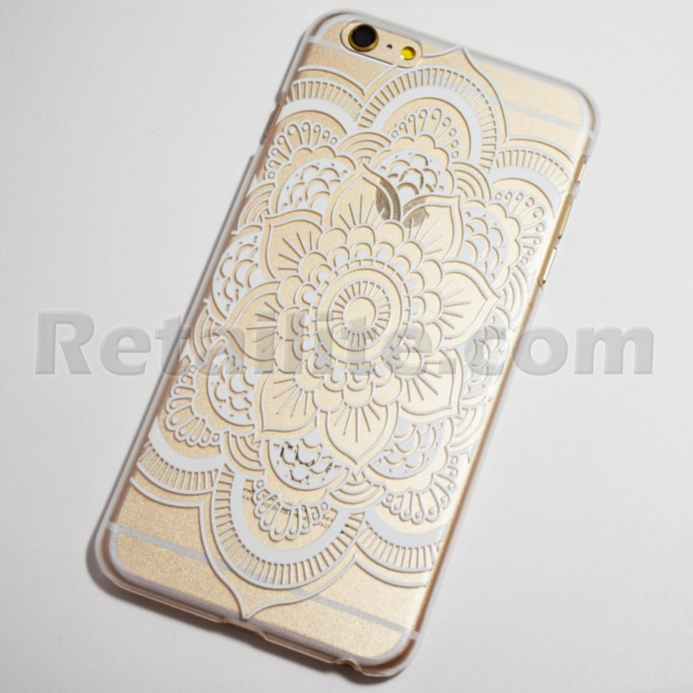 White Henna Large Mandala Flower Iphone 6 Plus 6s Plus Hard Case