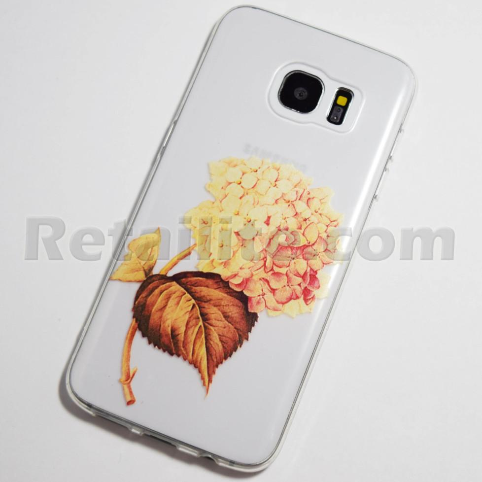 gold hydrangea flower galaxy s7 edge case