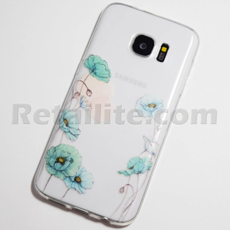 light blue cosmo flowers samsung galaxy s7 case