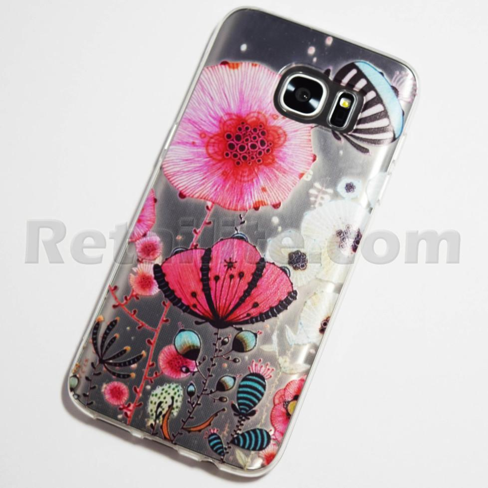 ocean flowers galaxy s7 edge clear case