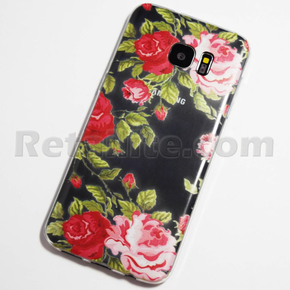 pink and red roses galaxy s7 edge transparent case