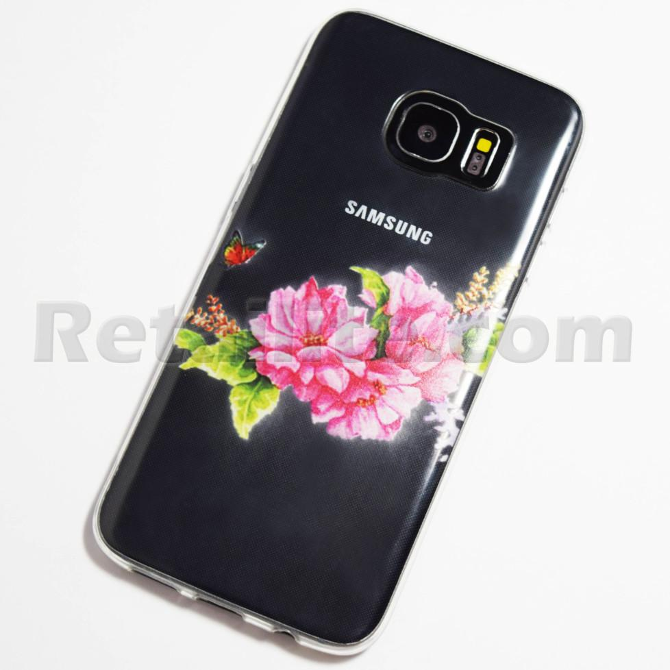 Pink Flowers And Butterfly Samsung Galaxy S7 Edge Case