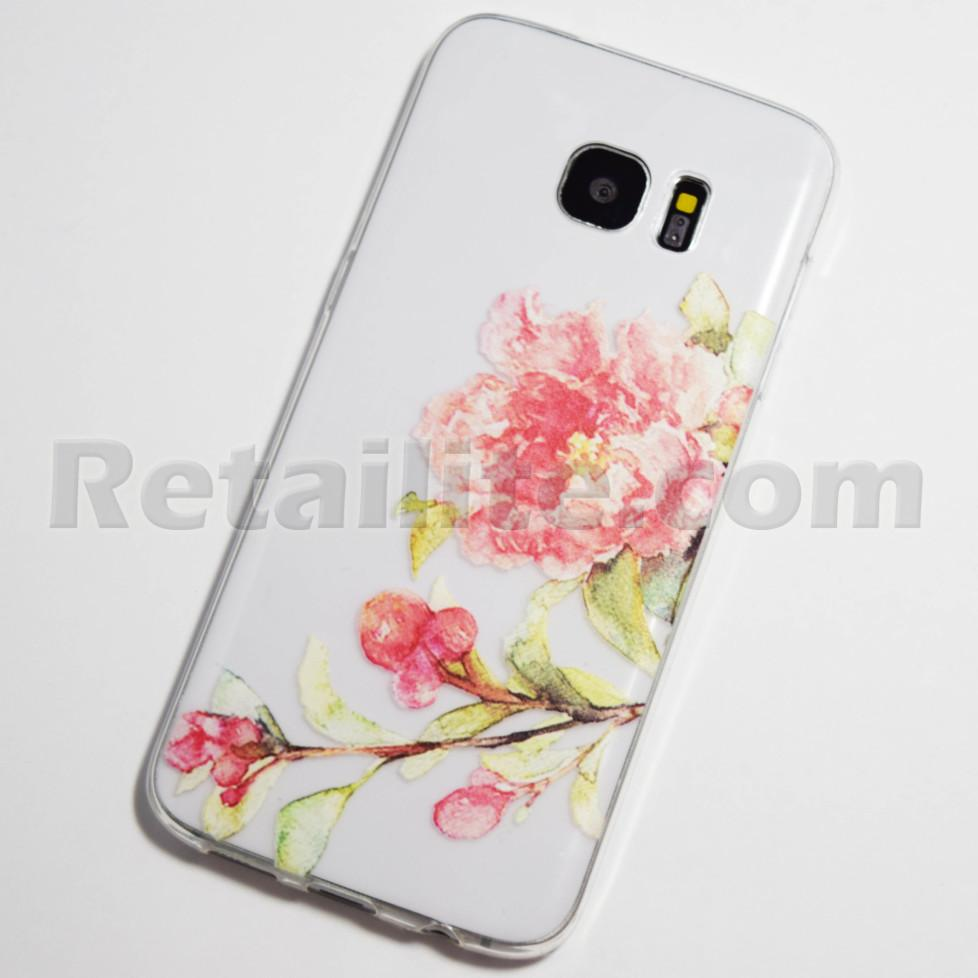 pink flower galaxy s7 edge case