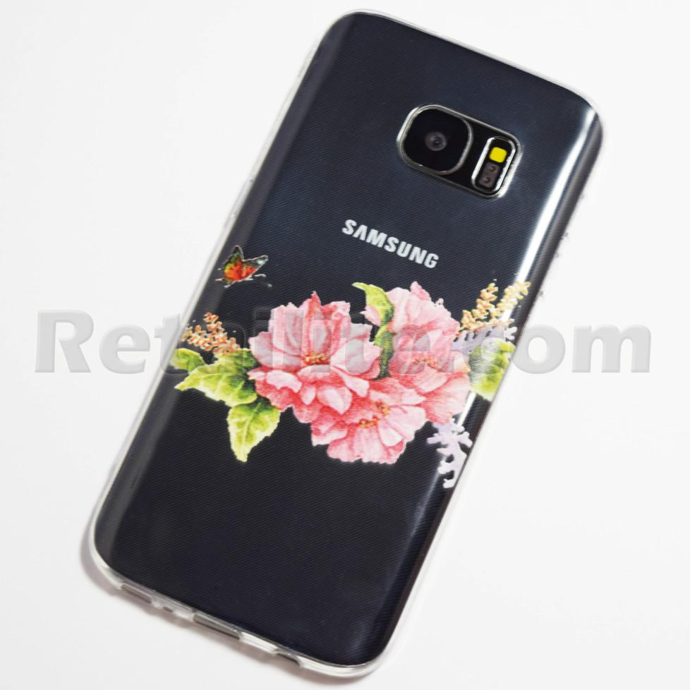 pink flowers and butterfly galaxy s7 case