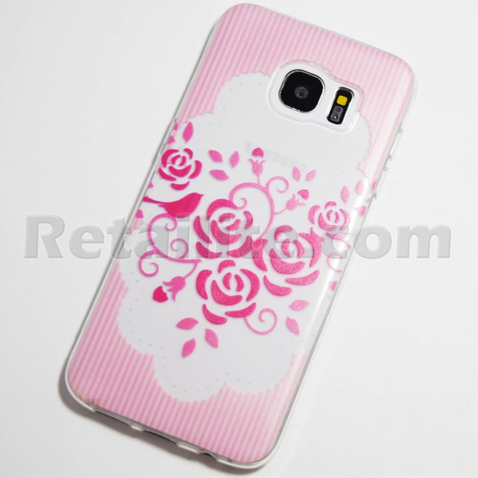 buy popular 68363 0d54e Pink Roses Striped Background Samsung Galaxy S7 Edge Case