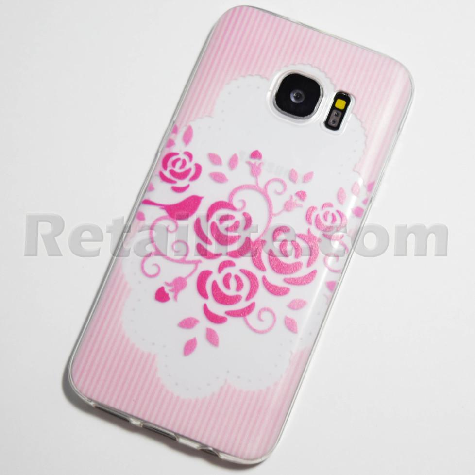 pink roses striped background galaxy s7 case