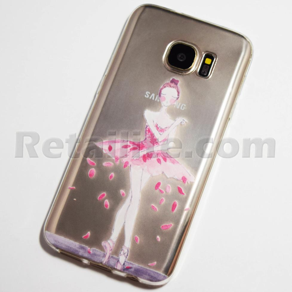 pink ballerina with rose pedals samsung galaxy s7 case. Black Bedroom Furniture Sets. Home Design Ideas