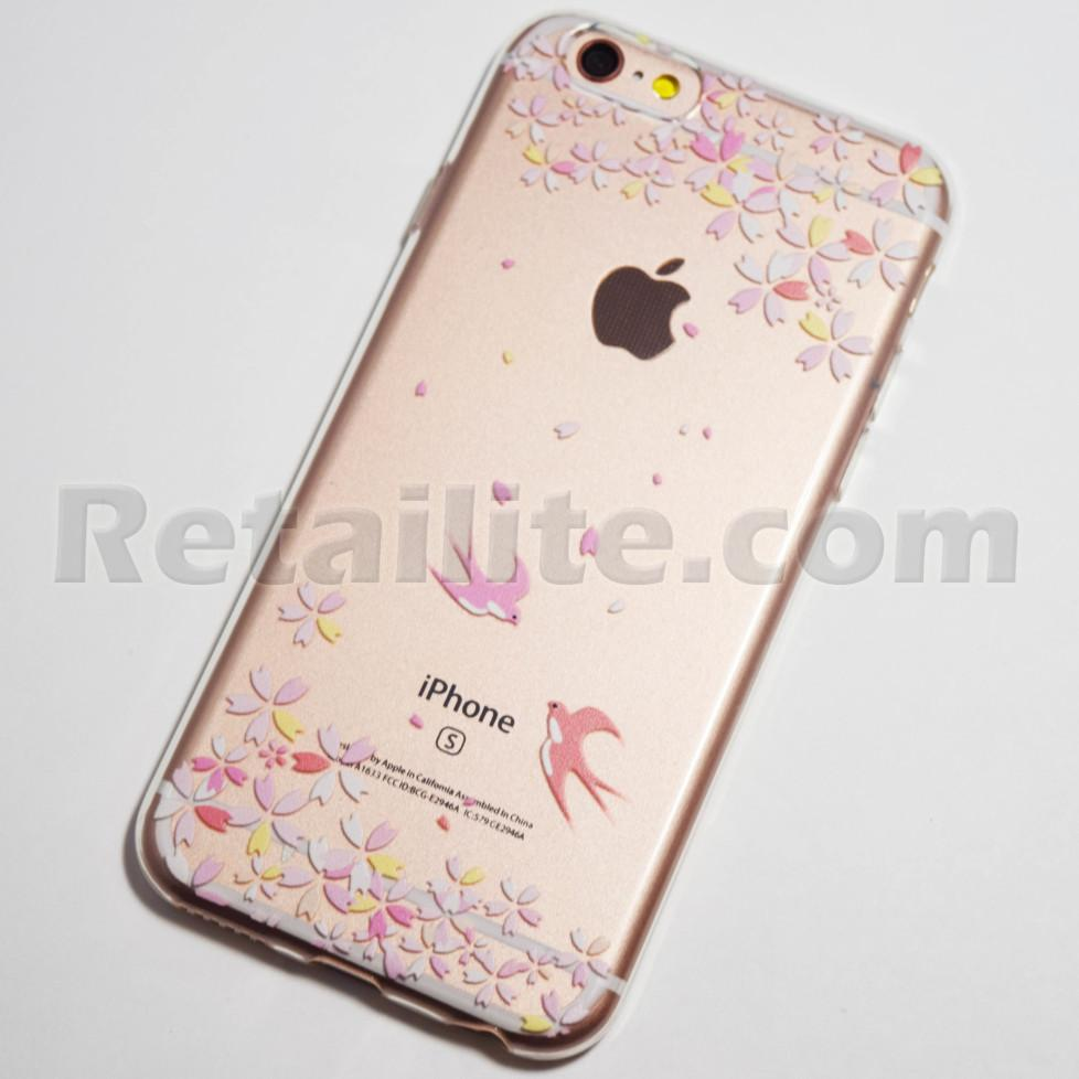 pink sparrows and flowers iphone 6s case