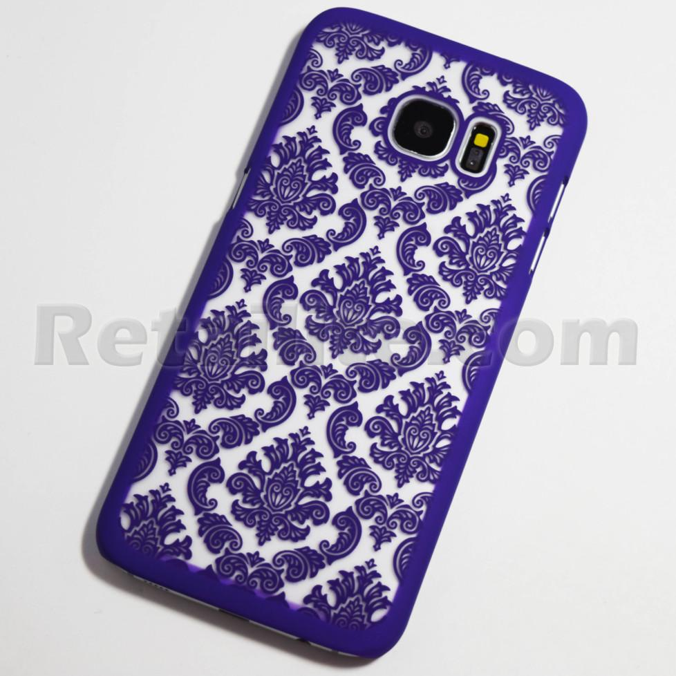 purple vintage pattern galaxy s7 edge clear case