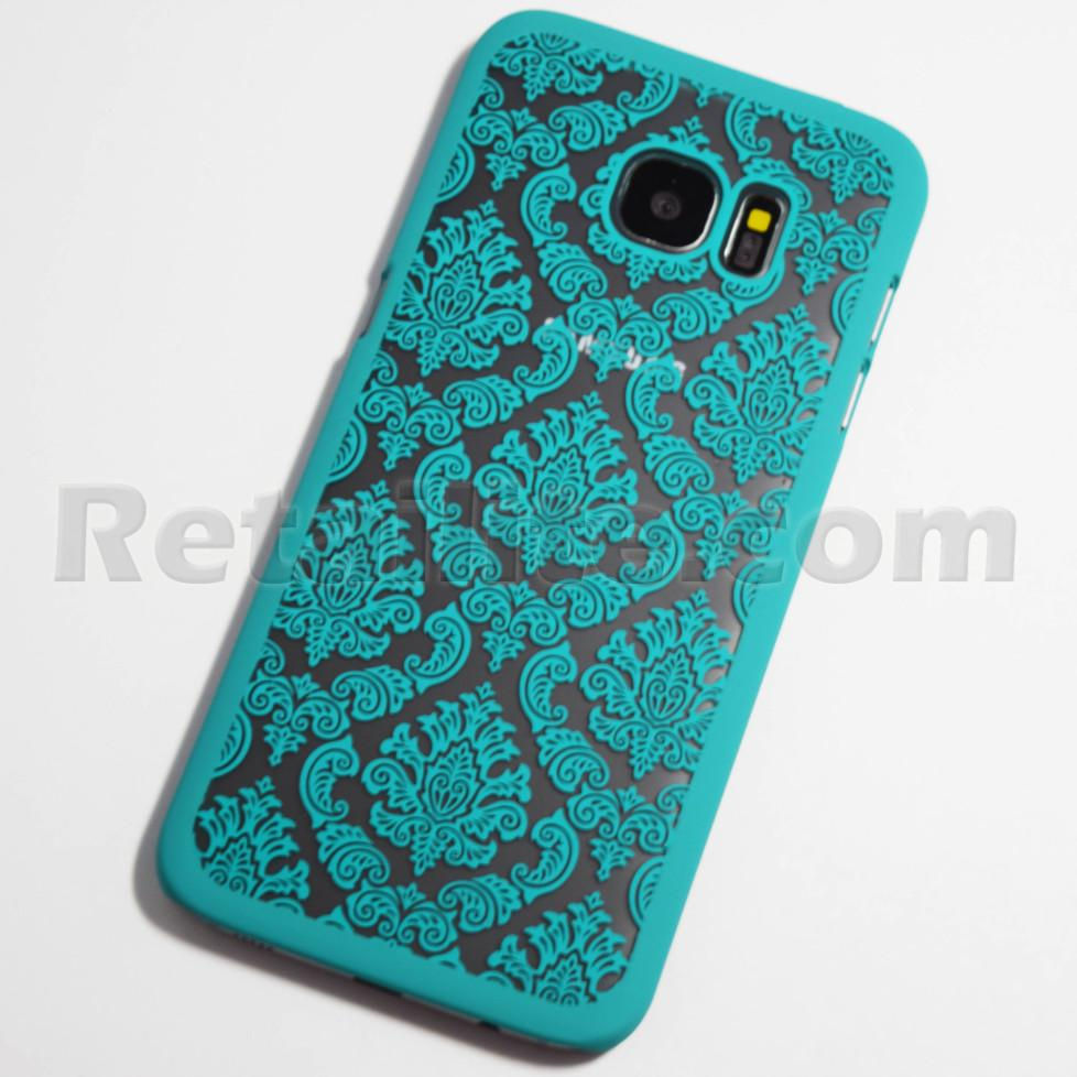 turquoise vintage pattern galaxy s7 edge clear case