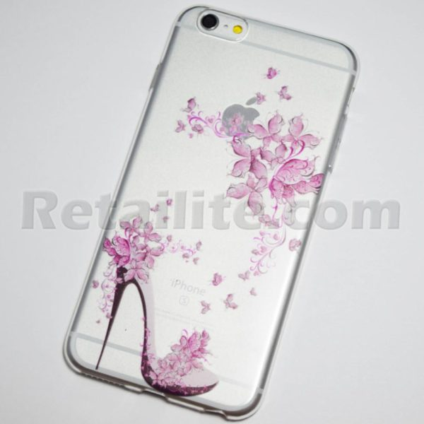 high heel pink flowers iPhone 6 plus case