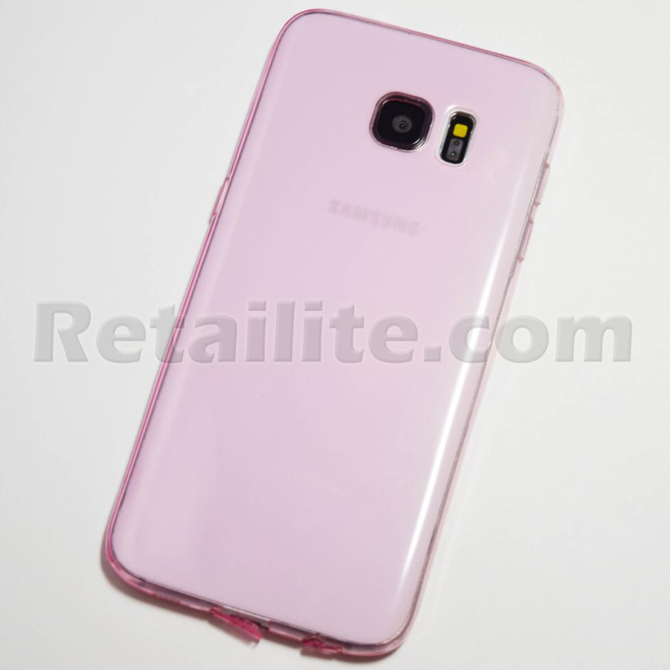pink galaxy s7 edge transparent case