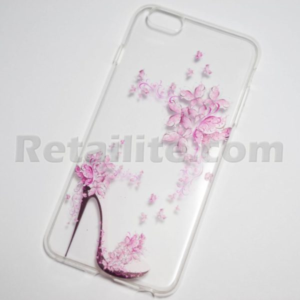 pink high heel flowers iPhone 6s plus clear case