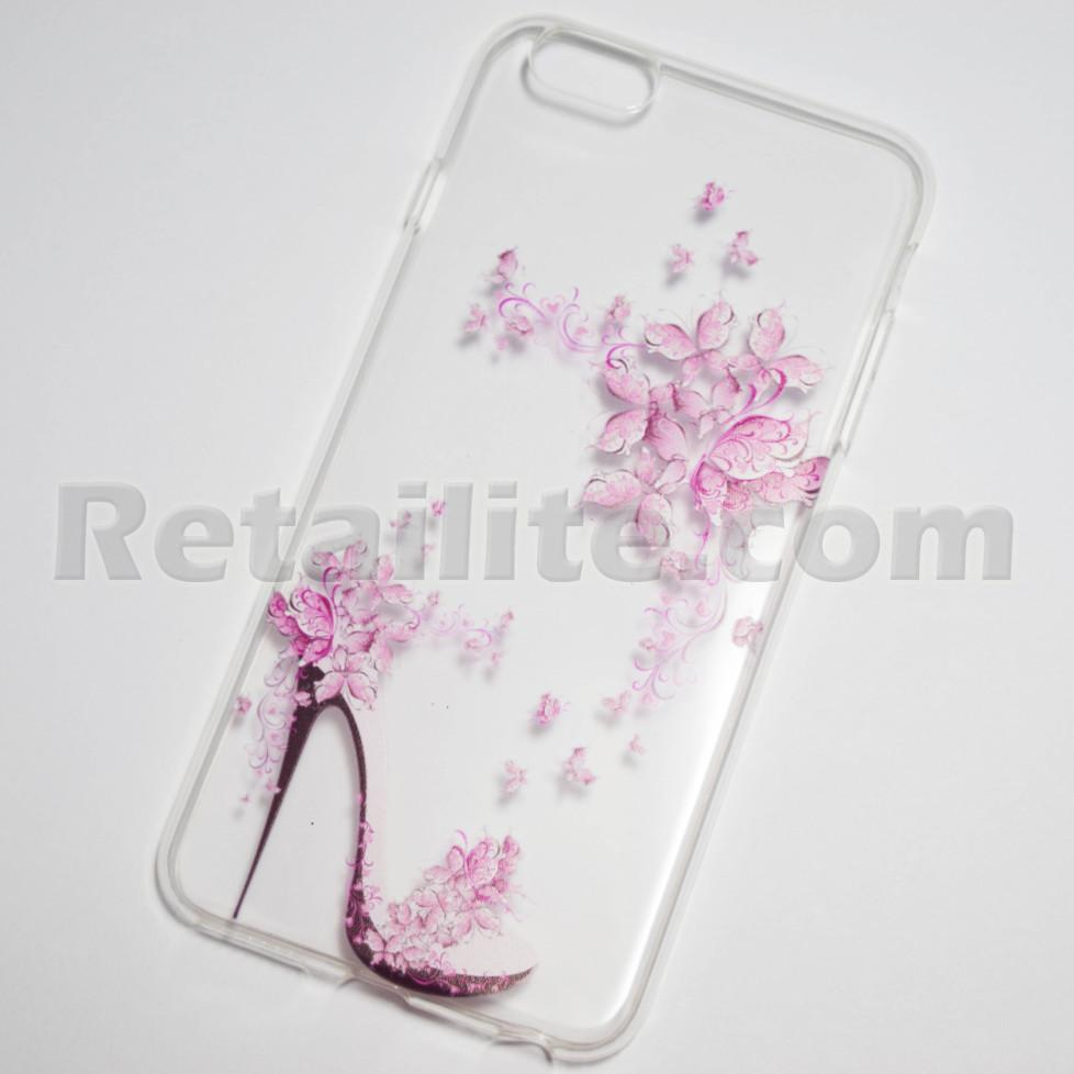 High Heel And Flowers Iphone 6 Plus 6s Plus Soft Clear Case