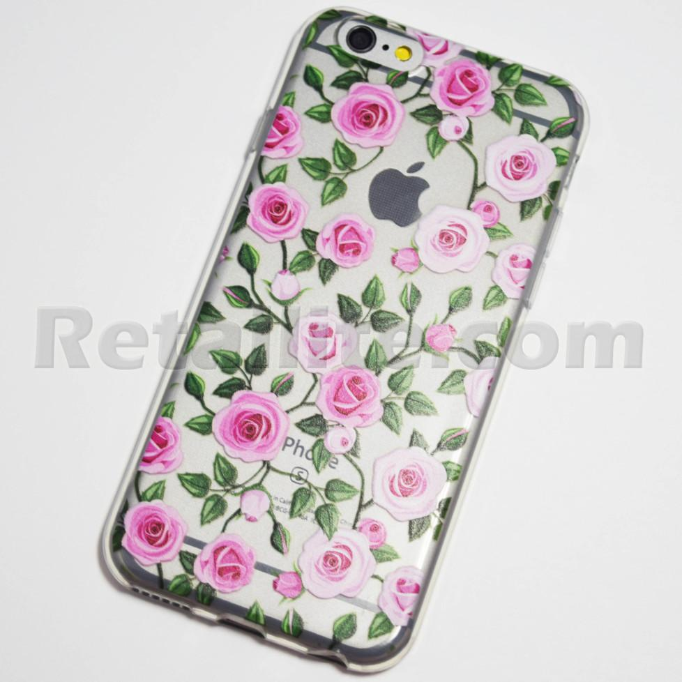 pink roses iphone 6 6s soft clear case retailite. Black Bedroom Furniture Sets. Home Design Ideas