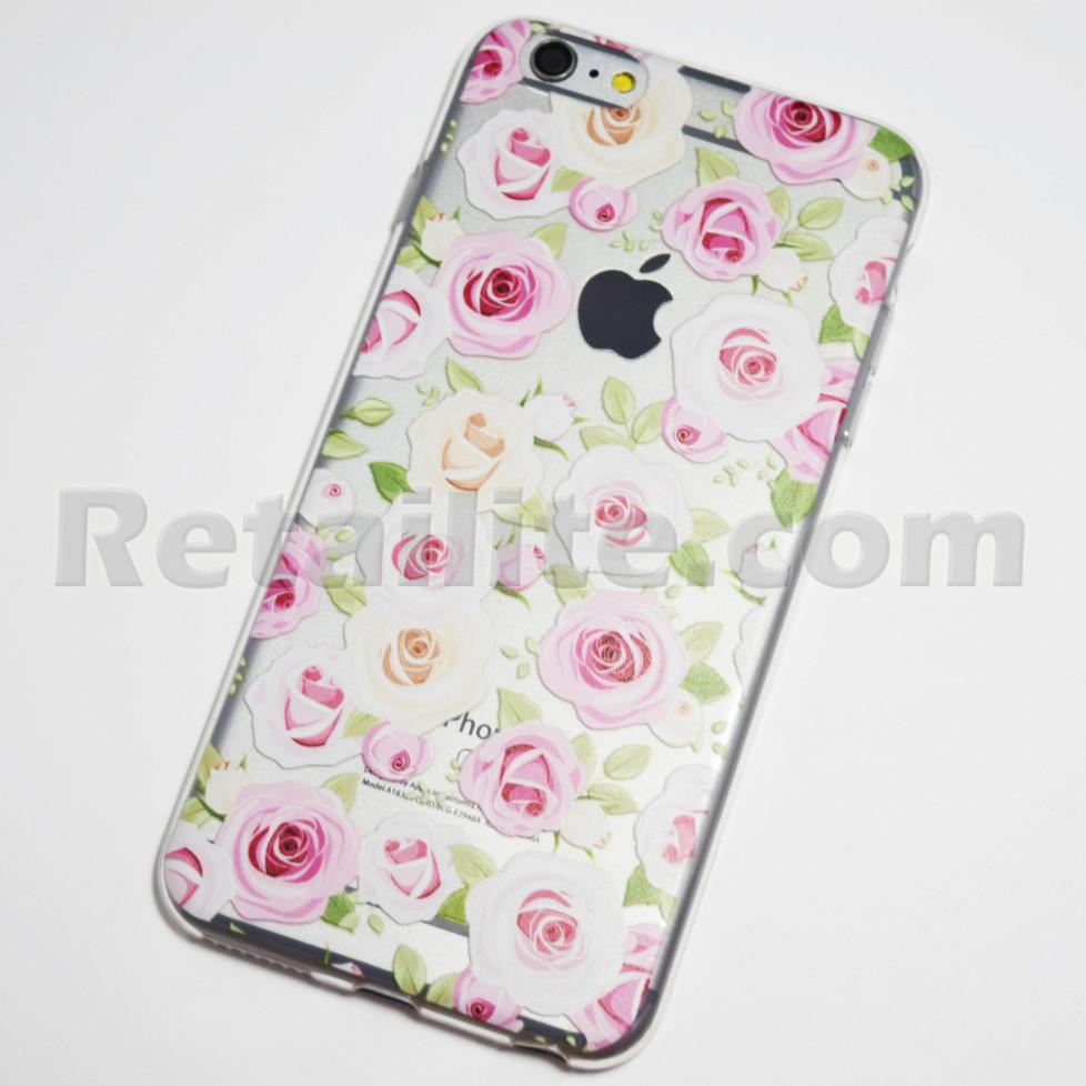Pink And White Roses Iphone 6 Plus 6s Plus Soft Clear Case Retailite