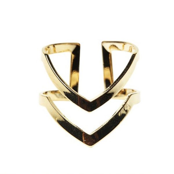 Double Gold Platinum: Double V Shaped Rings (Gold Or Silver)