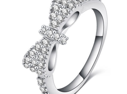platinum plated cubic zirconia bow tie ring