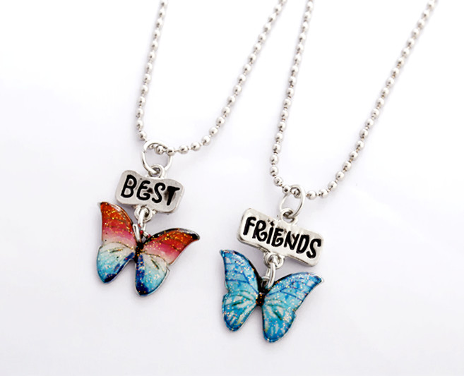 butterfly best friends forever necklaces