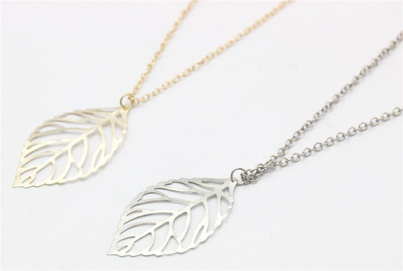 One leaf two leaf pendant chain necklaces retailite gold and silver leaves necklaces aloadofball Image collections