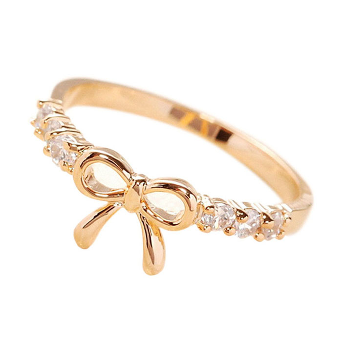 product bow metallic rings rhinestoned in jewelry ring lyst goldclear forever