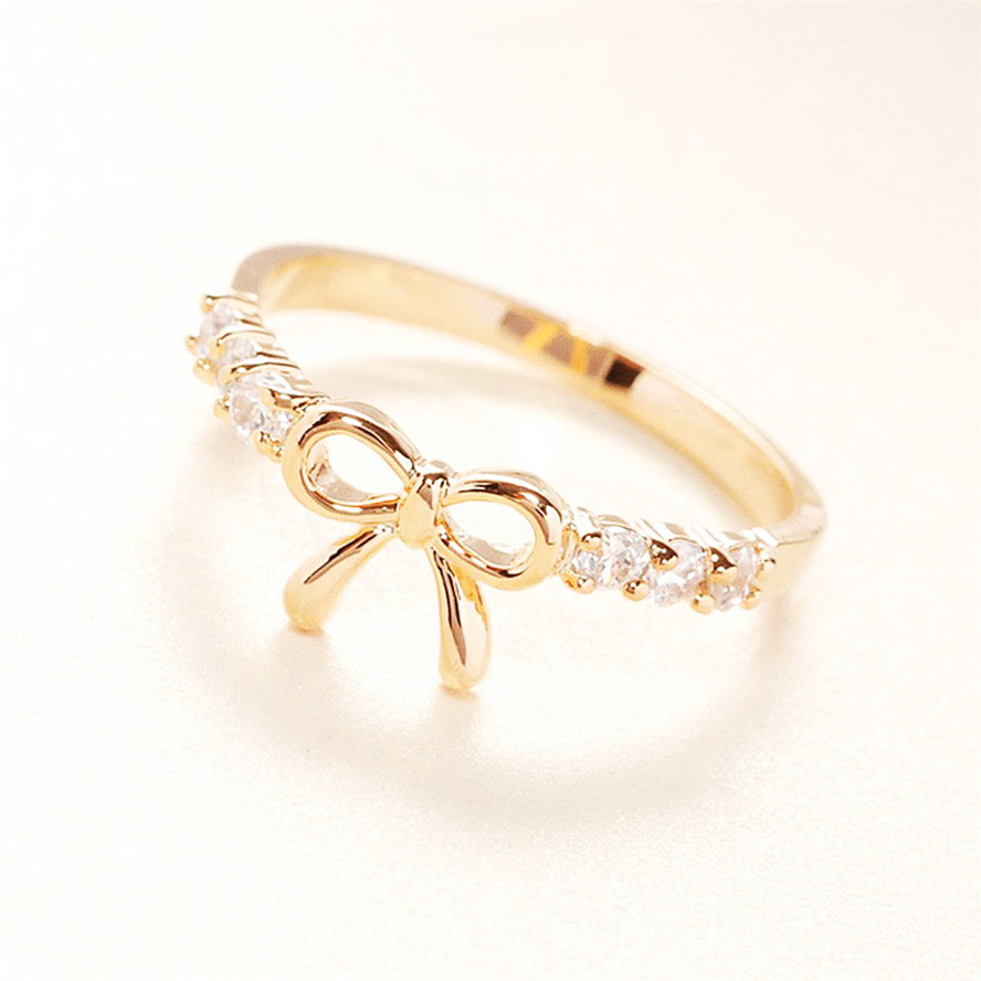 wedding cute rose women for rings bow promise lovely gold ring her product