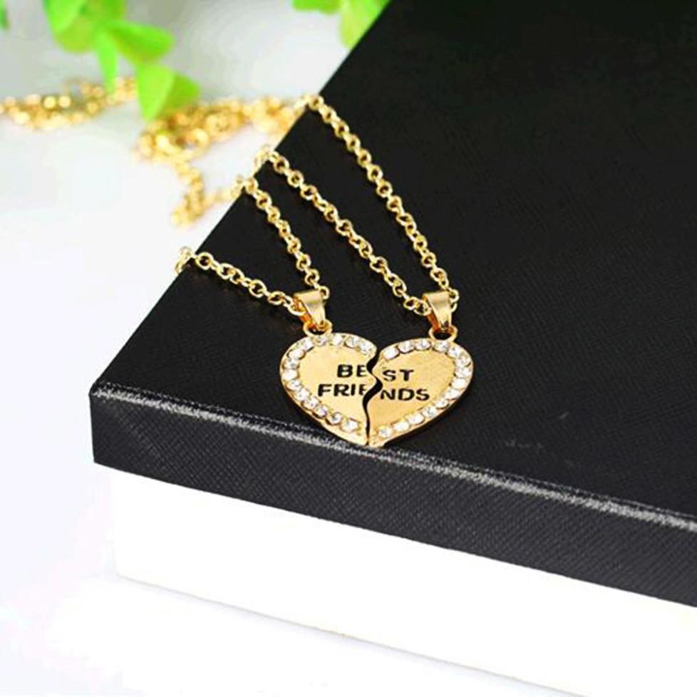 Diamond Bff Best Friends Friendship Heart Pendant
