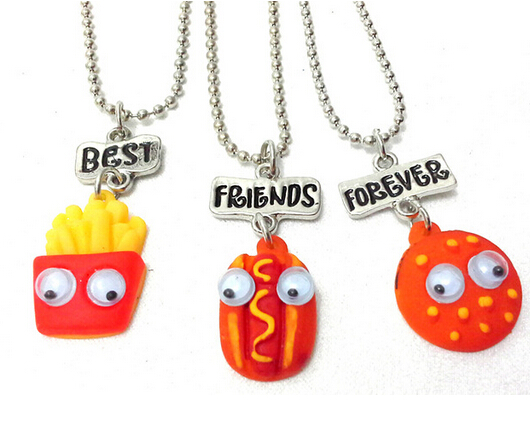 hamburger hot dog french fries necklaces