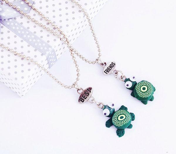 cute turtle pendant best friends bff friendship necklaces