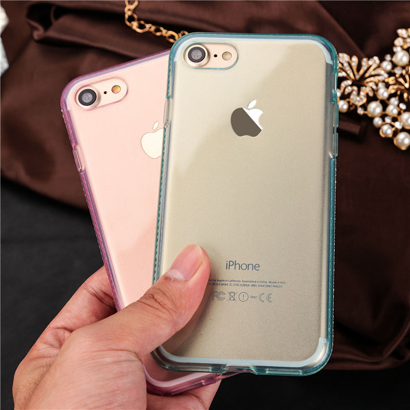 Rhinestone iPhone 7 transparent soft cases