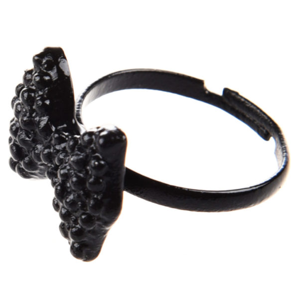 black crystal bow tie ring