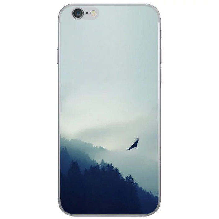 hawk flying in the forest mountain landscape iphone 8 soft case