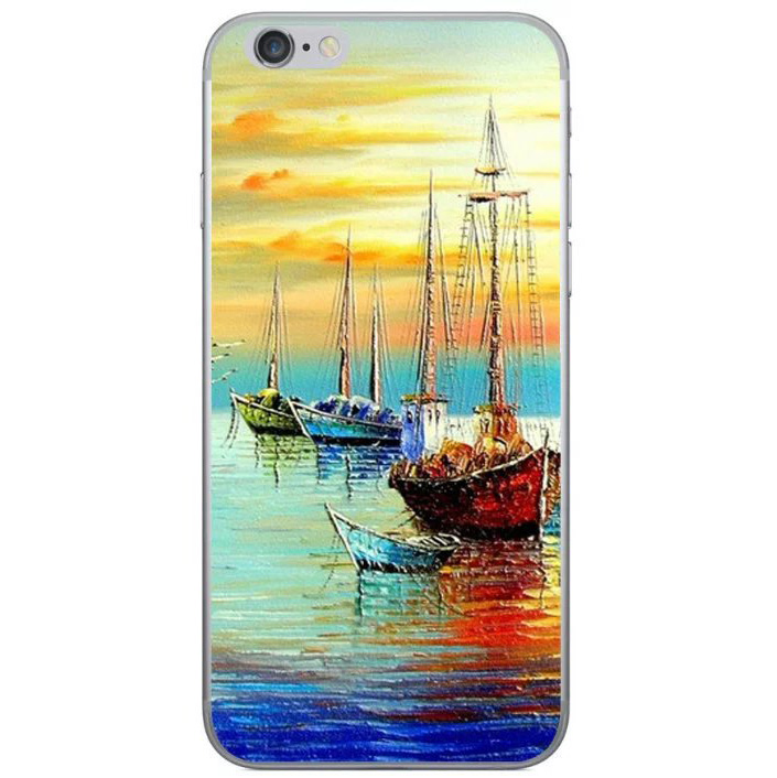 ships in the ocean at sunrise painting iphone 8 case