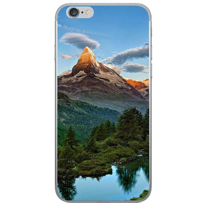 snowy mountain above the lake iphone 8 case