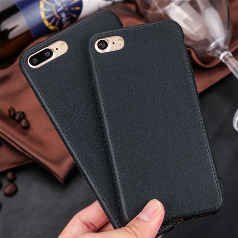 black Leather iPhone 7 soft cases