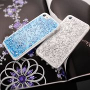 blue and silver Foil Metallic Flakes iPhone 7 transparent soft case