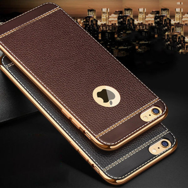 brown and black leather iphone 7 cases